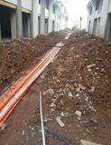 小区综合布线预埋管道作业.